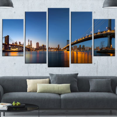 Designart New York City Dusk Panorama Blue CanvasArt Print - 5 Panels