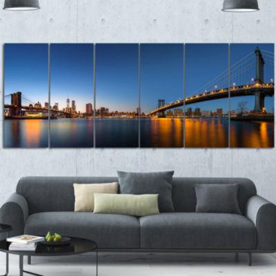 Designart New York City Dusk Panorama Canvas Art Print - 6 Panels