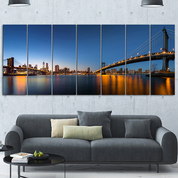 Design Art New York City Dusk Panorama Canvas Art Print - 7 Panels
