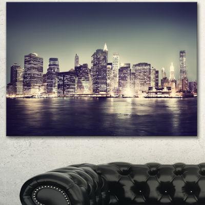 Design Art Black And White NYC Night Panorama Canvas Art Print