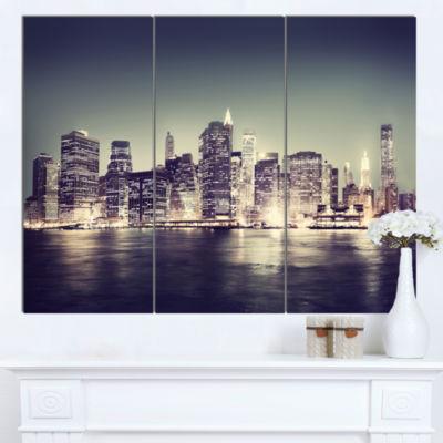 Designart Black And White NYC Night Panorama Canvas Art Print - 3 Panels