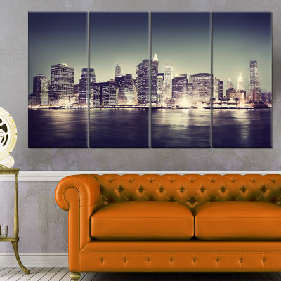 Designart Black And White NYC Night Panorama Canvas Art Print - 4 Panels