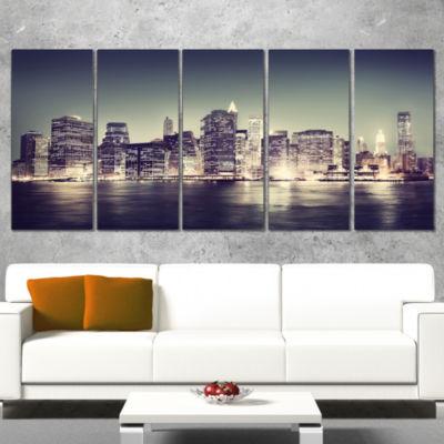 Designart Black And White NYC Night Panorama Canvas Art Print - 5 Panels