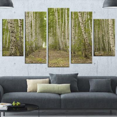 Designart Dense Birch Grove In Summer Day Forest Canvas Art Print - 5 Panels