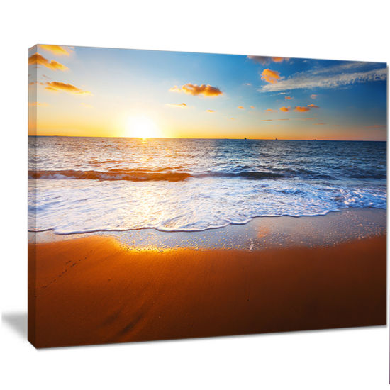 Designart Blue Sea And Sky With Sandy Beach Seashore Canvas Art Print