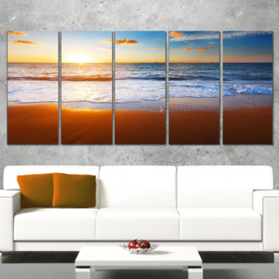 Designart Blue Sea And Sky With Sandy Beach Seashore Canvas Art Print - 5 Panels