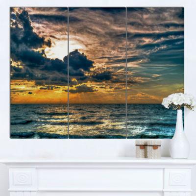 Designart Sun Break Over Blue Ocean Seashore Canvas Art Print - 3 Panels
