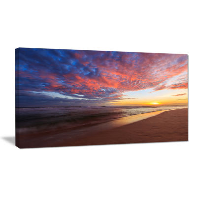 Design Art Colored Clouds In Beach At Sunset Seashore Canvas Art Print