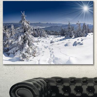 Designart Winter Sun Over Carpathian Mountains Landscape Canvas Art Print