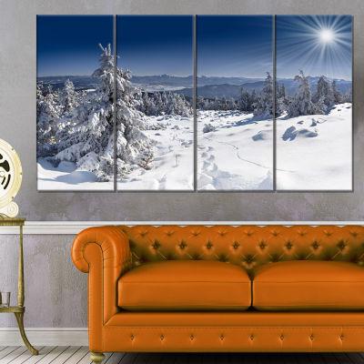 Design Art Winter Sun Over Carpathian Mountains Landscape Canvas Art Print - 4 Panels