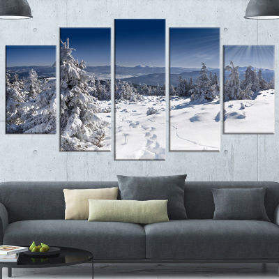 Design Art Winter Sun Over Carpathian Mountains Landscape Canvas Art Print - 5 Panels