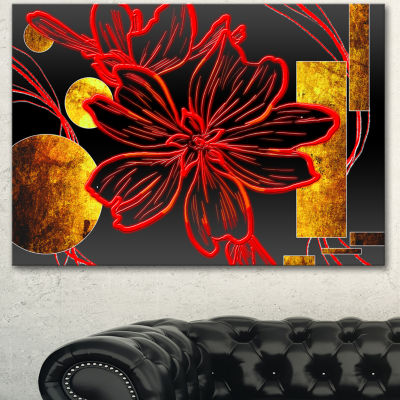 Designart Abstract Red Flower Painting Canvas ArtPrint