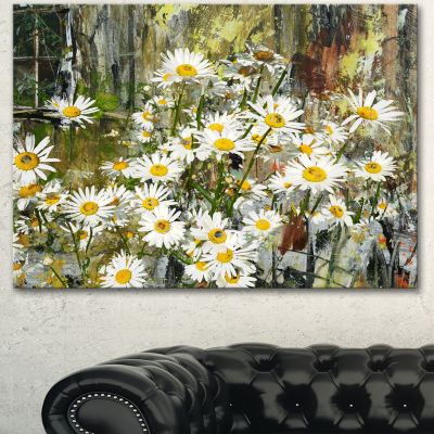 Designart Daisies Flowers Under The Window Art Canvas Print