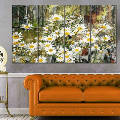Designart Daisies Flowers Under The Window Art Canvas Print - 4 Panels