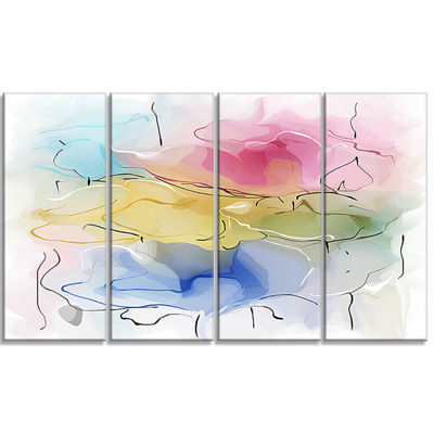 Designart Abstract Floral Illustration Design Canvas Wall Art - 4 Panels