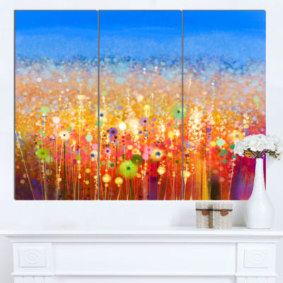 Design Art Abstract Flower Field Watercolor Painting Canvas Art Print - 3 Panels