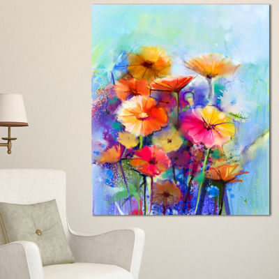 Designart Abstract Floral Watercolor Painting Canvas Art Print