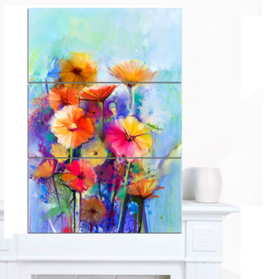 Designart Abstract Floral Watercolor Painting Canvas Art Print - 3 Panels