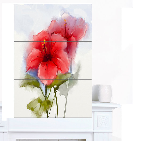 Design Art Watercolor Painting Red Hibiscus Flower Canvas Art Print - 3 Panels