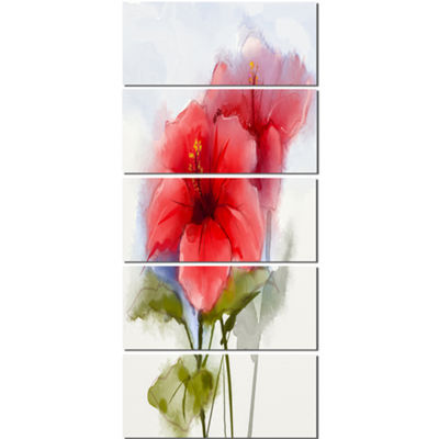 Designart Watercolor Painting Red Hibiscus FlowerCanvas Art Print - 5 Panels