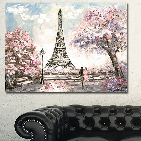 Designart Eiffel With Pink Flowers Landscape Canvas Art Print, One Size , Pink