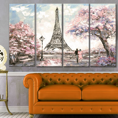 Design Art Eiffel With Pink Flowers Landscape Canvas Art Print - 4 Panels