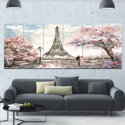Designart Eiffel With Pink Flowers Landscape Canvas Art Print - 6 Panels