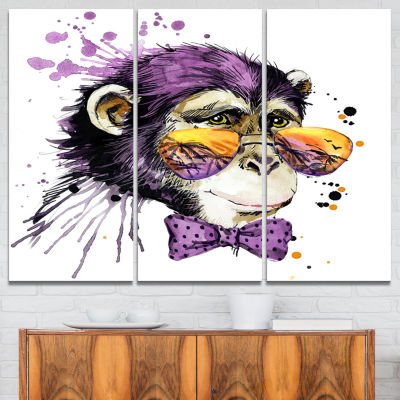 Designart Cool Monkey Animal Kids Art Painting Canvas Art work - 3 Panels