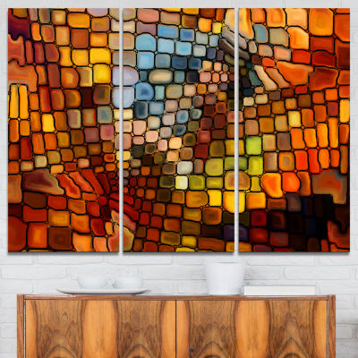 Designart Dreaming Of Stained Glass Abstract Canvas Artwork - 3 Panels