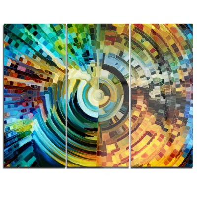 Designart Paths Of Stained Glass Abstract Canvas Artwork - 3 Panels