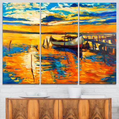 Designart Boat And Jetty At Sunset Landscape ArtPrint Canvas - 3 Panels