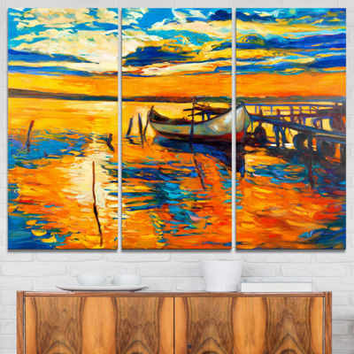 Designart Boat And Jetty At Sunset Landscape ArtPrint Canvas - 3 Panels