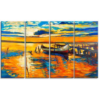 Designart Boat And Jetty At Sunset Landscape Art Print Canvas - 4 Panels