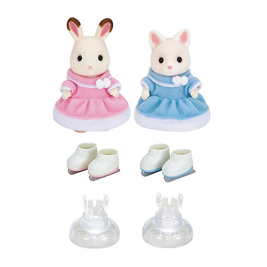 Calico Critters Ice Skating Friends Bell Hopscotch Rabbit And Susie Silk Cat