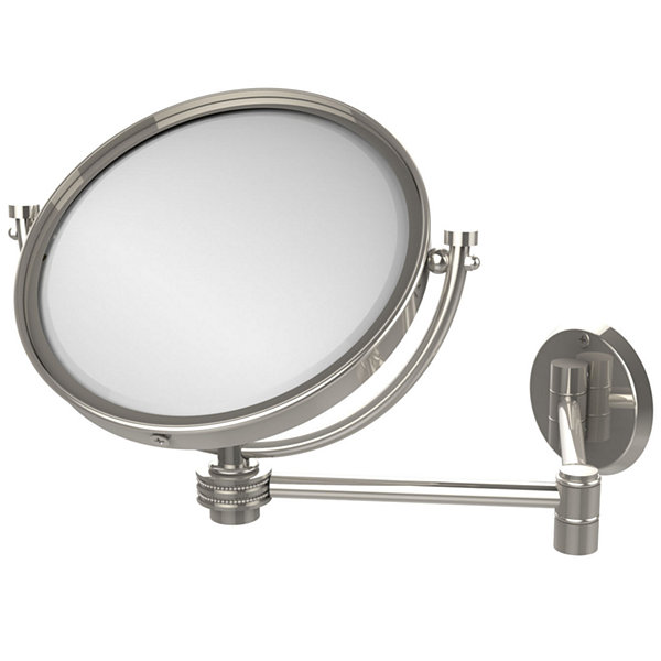 Allied Brass 8 Inch Wall Mounted Extending Make-UpMirror 2X Magnification With Groovy Accent