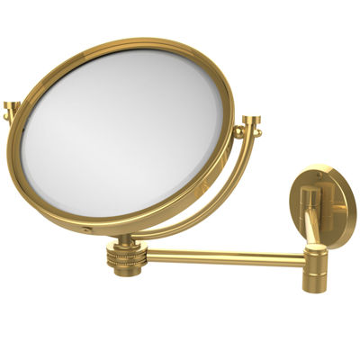 Allied Brass 8 Inch Wall Mounted Extending Make-UpMirror 2X Magnification With Dotted Accent