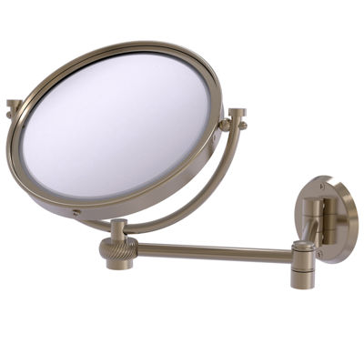 Allied Brass 8 Inch Wall Mounted Extending Make-UpMirror 5X Magnification With Twist Accent