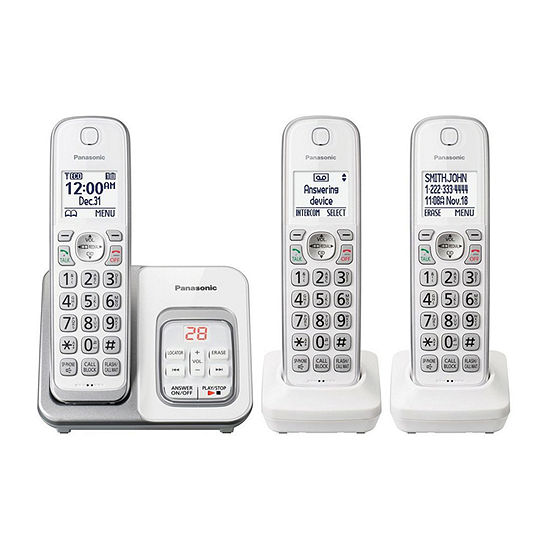 Panasonic KX-TGD533W DECT 6.0 Expandable Cordless Phone with Call Block and Answering Machine - 3 Handsets
