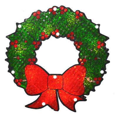 """11"""" Lighted Holographic Berry Wreath Christmas Window Silhouette"""""""