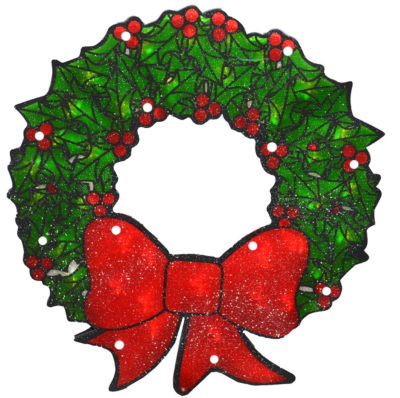 """15"""" Lighted Double-Sided Shimmering Christmas Wreath Window Silhouette"""""""