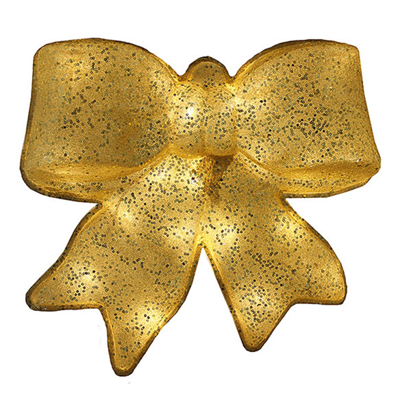 "15.5"" Gold Glittered Battery Operated Lighted LED Christmas Bow Decoration"""