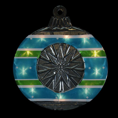 """15.5"""" Lighted Shimmering Blue  Green  White & Silver Ornament Christmas Window Silhouette Decoration"""""""