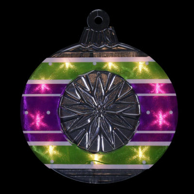 "15.5"" Lighted Shimmering Purple  Green  White & Silver Ornament Christmas Window Silhouette Decoration"""