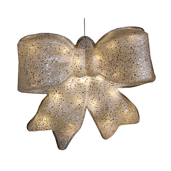"15.5"" Silver Glittered Battery Operated Lighted LED Christmas Bow Decoration"""