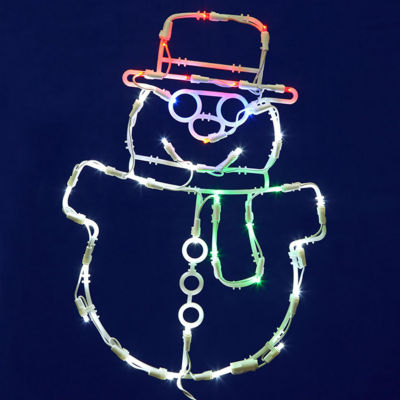 """17"""" Lighted LED Smiling Snowman Christmas Window Silhouette Decoration"""""""