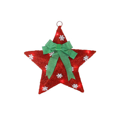 "17"" Lighted Red and Green Sisal Hanging ChristmasStar Window Decoration with Bow"""