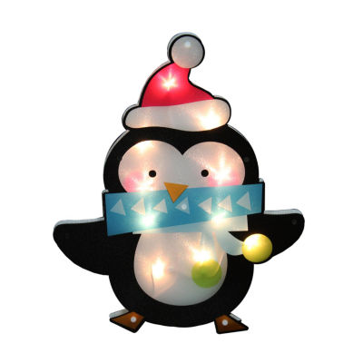 """17"""" Lighted Shimmering Penguin with Santa Hat Christmas Window Silhouette Decoration"""""""
