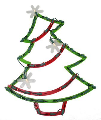 "18"" Lighted Christmas Tree with Star Ornaments Window Silhouette Decoration"""