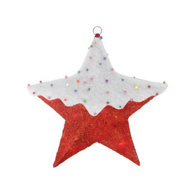 """18"""" Lighted Snow Covered Candy Red Sisal Hanging Christmas Star Window Decoration"""""""