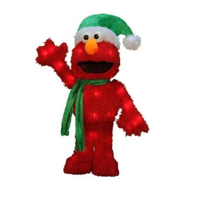 "18"" Pre-Lit 3D Sesame Street Waving Elmo Christmas Yard Art Decoration - Clear Lights"""